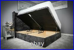 Fabric Storage Bed Chesterfield Ottoman Gas Lift Base Frame with Wing Headboard