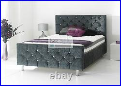 Fabric upholstered Valencia bed frame under slat storage diamond buttons double