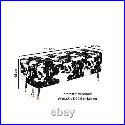Felicity Velvet Ottoman Storage Bench in Cow Print FEL003