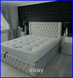 Ferro Bed, with ottoman storage(option) available in all colours, fabric & sizes