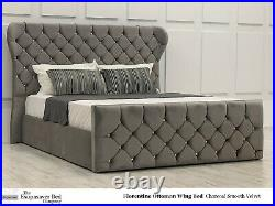 Florentine Ottoman Wing Storage Bed Diamante Buttons Esupasaver Made in England