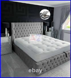 Frankfurt Bed With Storage, Ottoman Gas Lift Storage Bed in Plush Velvet