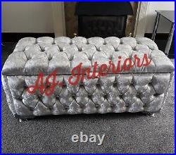 Fully Upholsted Large Silver Crushed Velvet Ottoman Storage Footstool