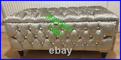 Fully Upholster Crushed Velvet Ottoman With Storage in Chesterfield Design