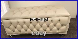 Fully Upholstered Large Cream Plush Velvet Storage Ottomans With Diamond Buttons