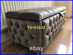 Fully Upholstered Large Grey Plush Velvet Storage Ottomans With Diamond Buttons