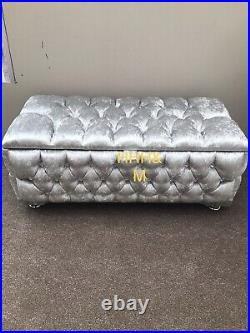 Fully Upholstered Large Silver Crush Ottoman Storage Footstool, Blanket Box