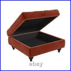 GRADE A1 Burnt Orange Ottoman Storage Footstool Buttoned Inez