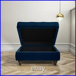 GRADE A2 Navy Blue Ottoman Storage Footstool Buttoned Inez
