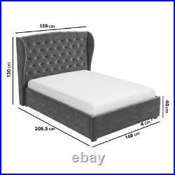 Gas Lift Ottoman Storage Double Bed Dark Grey Velvet Winged Headboard Support