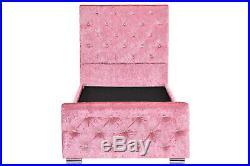 Girls Pink Crushed Velvet Princess Single Bed Frame Lift Up Under Bed Storage