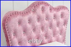 Girls Pink Princess Crushed Velvet Bed Single Bed Frame with Under Bed Storage