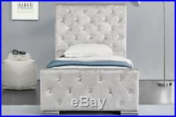 Girls Princess Silver Crushed Velvet Bed Single Bed Frame with Under Bed Storage