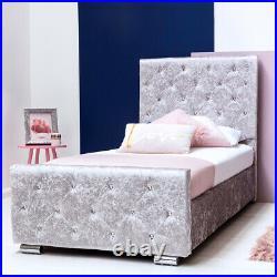 Girls Silver Crushed Velvet Princess Single Bed Frame Lift Up Under Bed Storage