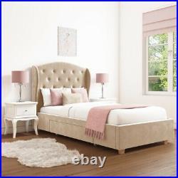 Girls Velvet Single Bed with Storage