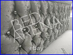 Glitter Fabric Upholstered Crushed Velvet + Choice Of Colour, Storage, Mattress