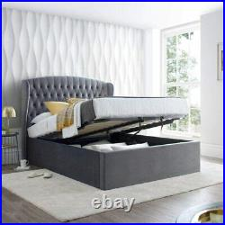 Grey Beige Upholstered Velvet Chesterfield Storage Ottoman gas lift Fabric bed