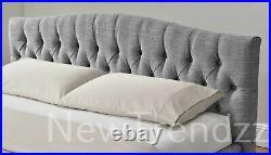Grey Chesterfield Ottoman Storage Gas Lift Bed Mattress Options Linen Velvet