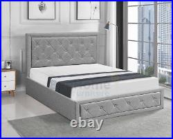 Grey Fabric Ottoman Storage Gas Lift Up Bed Frame Double or King With Mattress