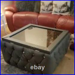 Grey Leather Chesterfield Upholstered Glass Top Coffee Table With Storage