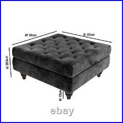Grey Ottoman Storage Footstool Buttoned Inez INE001