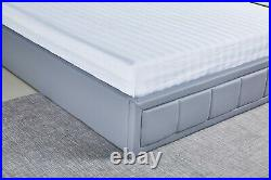 Grey PU Leather Ottoman Storage Bed Frame Upholstered Headboard Gas Lift Storage