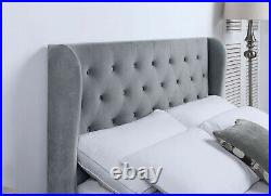 Grey Velvet Ottoman Bed With Tall Headboard And Gas Lifting Storage Compartment