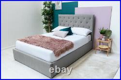 Grey Velvet Upholstered Bed Frame Lift Up Ottoman Storage 4FT6 Double Size
