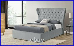 Grey Wingback Ottoman Gas Lift Up Storage Bed Frame Upholstered Double Velvet