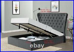 Grey Wingback Ottoman Gas Lift Up Storage Bed Frame Upholstered King Velvet