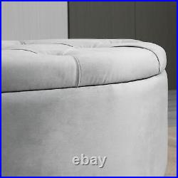 HOMCOM Semi-Circle Storage Ottoman Bench Tufted Upholstered Accent Footrest
