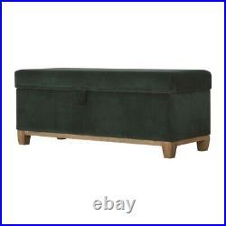 Handmade Emerald Green Velvet Solid Wood Storage Box Upholstered Fabric Ottoman