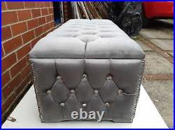 Handmade Upholstered Plush velvet Footstool Ottoman Storage Box Gas Lift & Feet