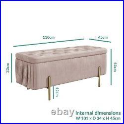 Harriet Pleated Velvet Storage Bench in Baby Pink HRT002