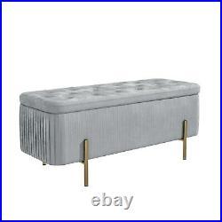 Harriet Pleated Velvet Storage Bench in Silver Grey HRT001