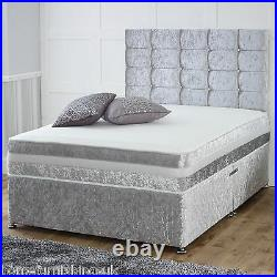Hf4you Memory Ortho Crushed Velvet Divan Bed + Silver Finish + Storage Options