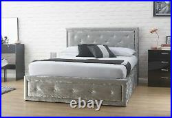 Hollywood 5ft King Crushed Velvet Silver Grey lift up storage crystal bed