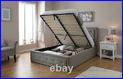 Hollywood 5ft King size Fabric lift up storage crystal ottoman bed Stone Grey