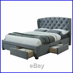 Hope Grey Velvet Fabric 4 Drawer Storage Bed with Size and 4 Mattress Options