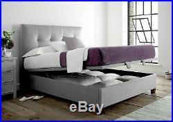 Kaydian Walkworth Velvet Slate Upholstered Storage/Ottoman Bed Frame King/5ft