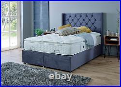 King Size 5ft Divan Ottoman Storage Bed with Floor Standing Wing Headboard