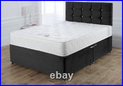 King Size Black Divan Bed Base Crushed Velvet Drawers Storage- Small Double