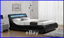 King Size Ottoman Bed Frame Black Crushed Velvet Built-in Storage LED Headboard