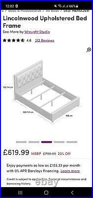 King size Bed frame Grey Upholstered Storage bed Grey kingsize (5') COLLECTION