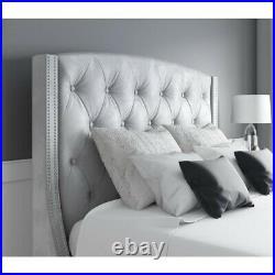 King size ottoman bed slats upholstered velvet ottoman storage studded