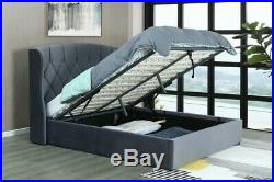 Kingsize Mayfair Grey Ottoman Storage Bed With Led Lights