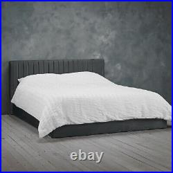 LPD Berlin Silver Velvet Ottoman Storage Bed Contemporary Style 4ft6 Double