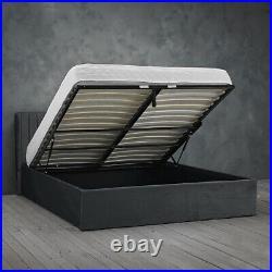 LPD Berlin Silver Velvet Ottoman Storage Bed Contemporary Style 5ft Kingsize