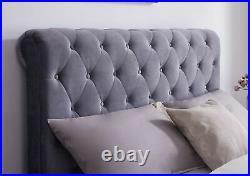 Langford Luxury Fabric Ottoman Storage Bed Plush Velvet Grey Double King Size