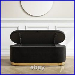 Large Black Velvet Footstool with Ottoman Storage Monroe